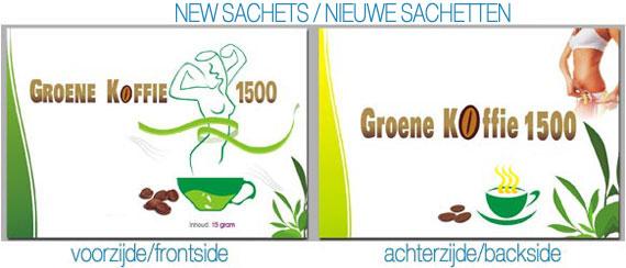 nieuwe sachetten groene koffie 1500